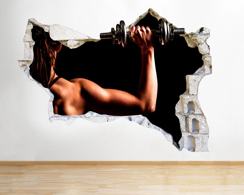 Q832 poids fille Fit fort Gym Smashed mur  Autocollant Chambre 3D Vinyle enfants