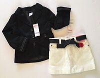 Gymboree Poppy Love 3 3t Ivory Skirt & Xs 3-4 Black Blazer Jacket