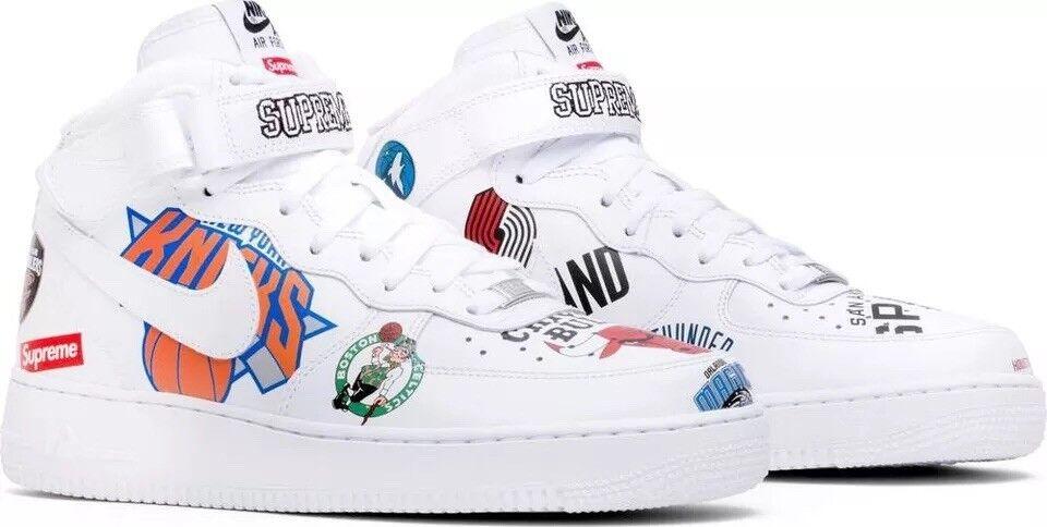 Nike Air Force 1 Mid Supreme NBA 11.5 White AQ8017 100 Low OG Black Off Travis
