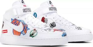 Nike Air Force 1 Mid Supreme NBA 9.5 White AQ8017 100 ...