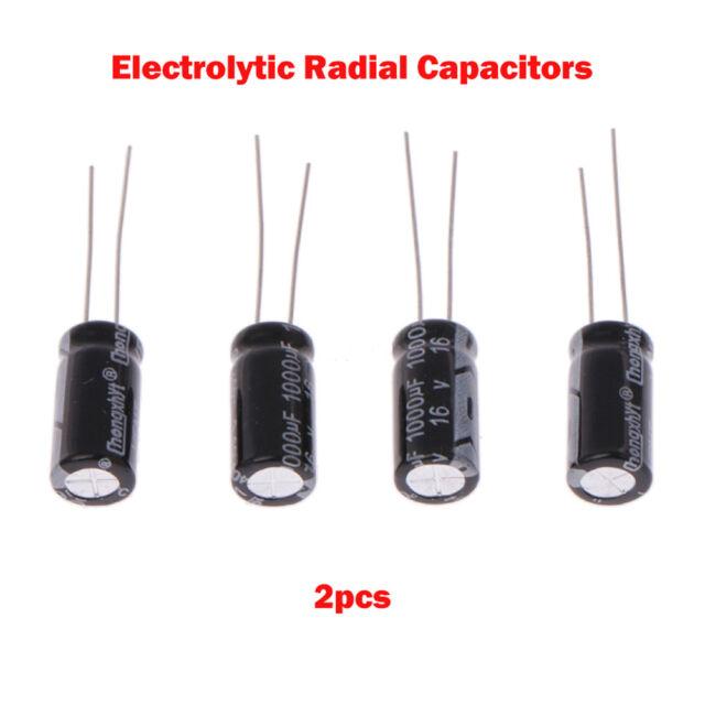NEW Black 2x Range of Radial Electrolytic Capacitors 47uF-4700uF 6.3V-50V AU