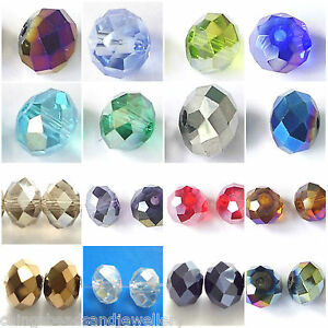 60-Quality-Crystal-Glass-8x6mm-Faceted-Rondelle-Beads-All-Colours