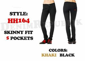 DICKIES GIRLS HH164 SKINNY FIT 5-POCKET BLACK Stretch Twill Lowrise KHAKI NEW