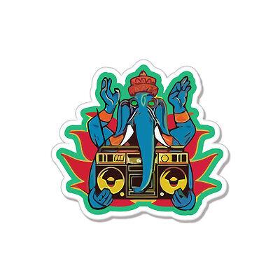 "Blue Elephant Disco Dancing car bumper sticker decal 4"" x 4"""