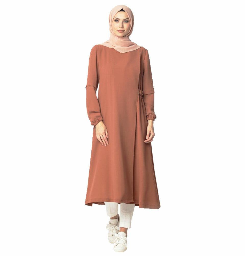 Islamic Turkish Women's Abaci Modest Wraparound Topcoat 130422 Burnt Orange