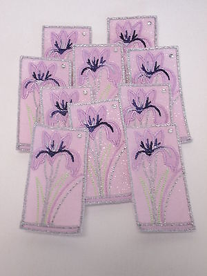 10 x Embroidered Green Tulip Diamante Flower Card Making Crafts Motifs #40B22