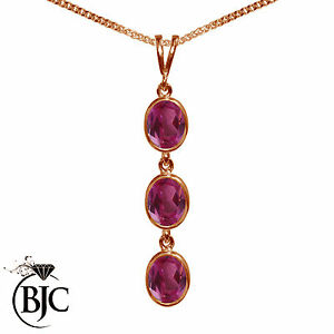 BJC-9ct-Rose-Gold-Natural-Pink-Topaz-Triple-Drop-Oval-Pendant-amp-Necklace