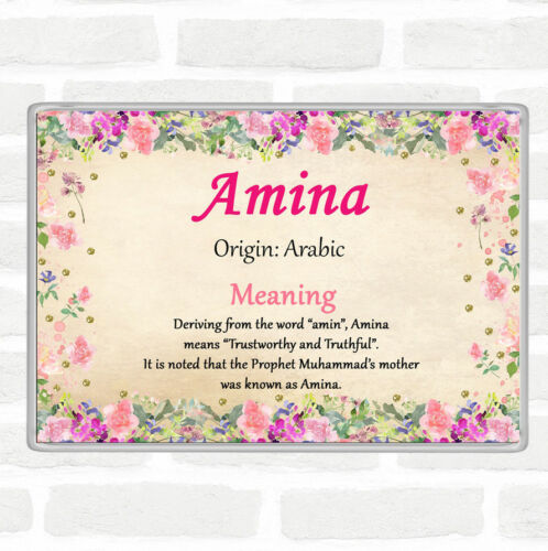 Amina Name Meaning Jumbo Fridge Magnet Floral