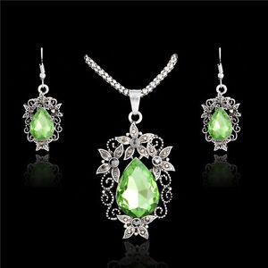 Jewelry-Sets-Charm-Drop-CZ-Vintage-Thai-Silver-Flower-Pendant-Necklace-Earrings