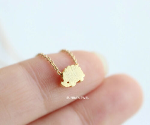 Silver Rose gold Tiny Hedgehog necklace Minimal Simple Animal Gold