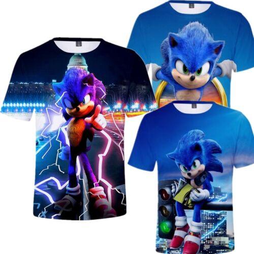 Kids Boys Girls Sonic The Hedgehog Short Sleeve 3D T-Shirt Game Gift Tee Tops UK
