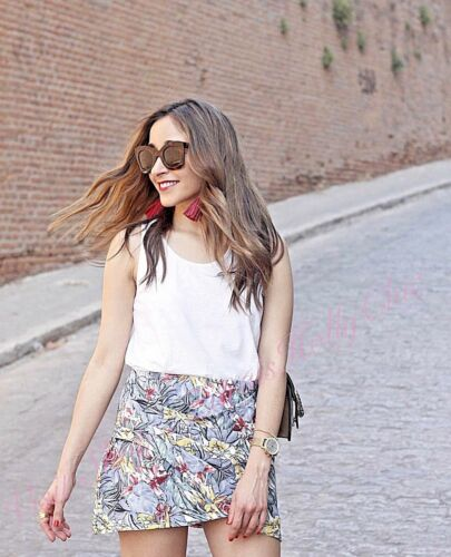 b2872967ba ... Zara Grey Floral Tropical Wrap Mini Skirt Size 8 10 UK 4 6 US S M  Blogger