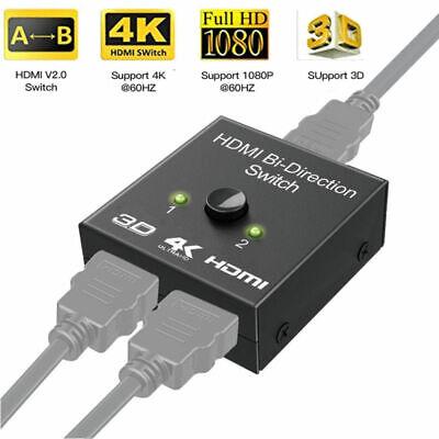 Hdmi 2 0 Bi Directional Switch 3d Uhd 4k Hdmi Switcher Splitter Hub 1x2 Hdcp Ebay