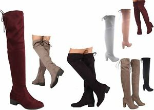 Soda-Women-039-s-Round-Toe-Thigh-Knee-High-Low-Heel-High-Heel-Boots-Shoes