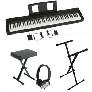yamaha p45b headphone bundle 88 key weighted action digital piano new ebay. Black Bedroom Furniture Sets. Home Design Ideas