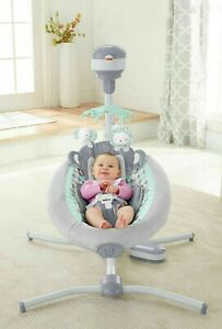 Fisher-Price-DRG41-Sweet-Surroundings-Monkey-Cradle-039-n-Swing-Seat-Pad-Set-Gray