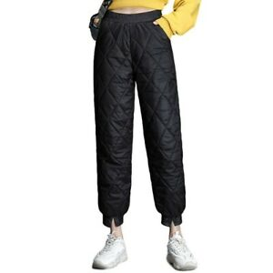 Women/'s Down Cotton Pants Winter Warm Casual Thicken Padded Quilted Trousers D