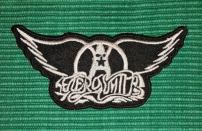 AEROSMITH Rock Music band White-Black Logo Iron/ Sew-on Embroidrd Patch / Badge
