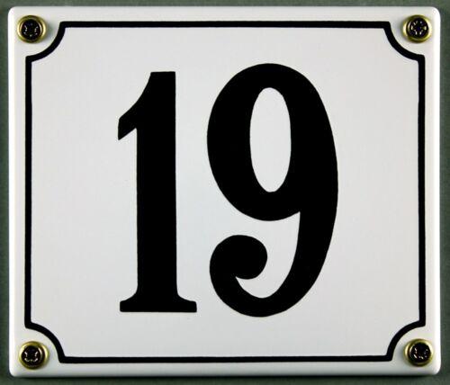 """Weiße Emaille Hausnummer /""""19/"""" 14x12 cm Hausnummernschild sofort lieferbar Schild"""