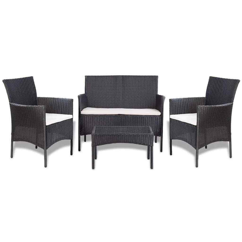 Miraculous Details About New 7 Piece Garden Sofa Set Poly Rattan Black And Cream White Chair Seat Squirreltailoven Fun Painted Chair Ideas Images Squirreltailovenorg