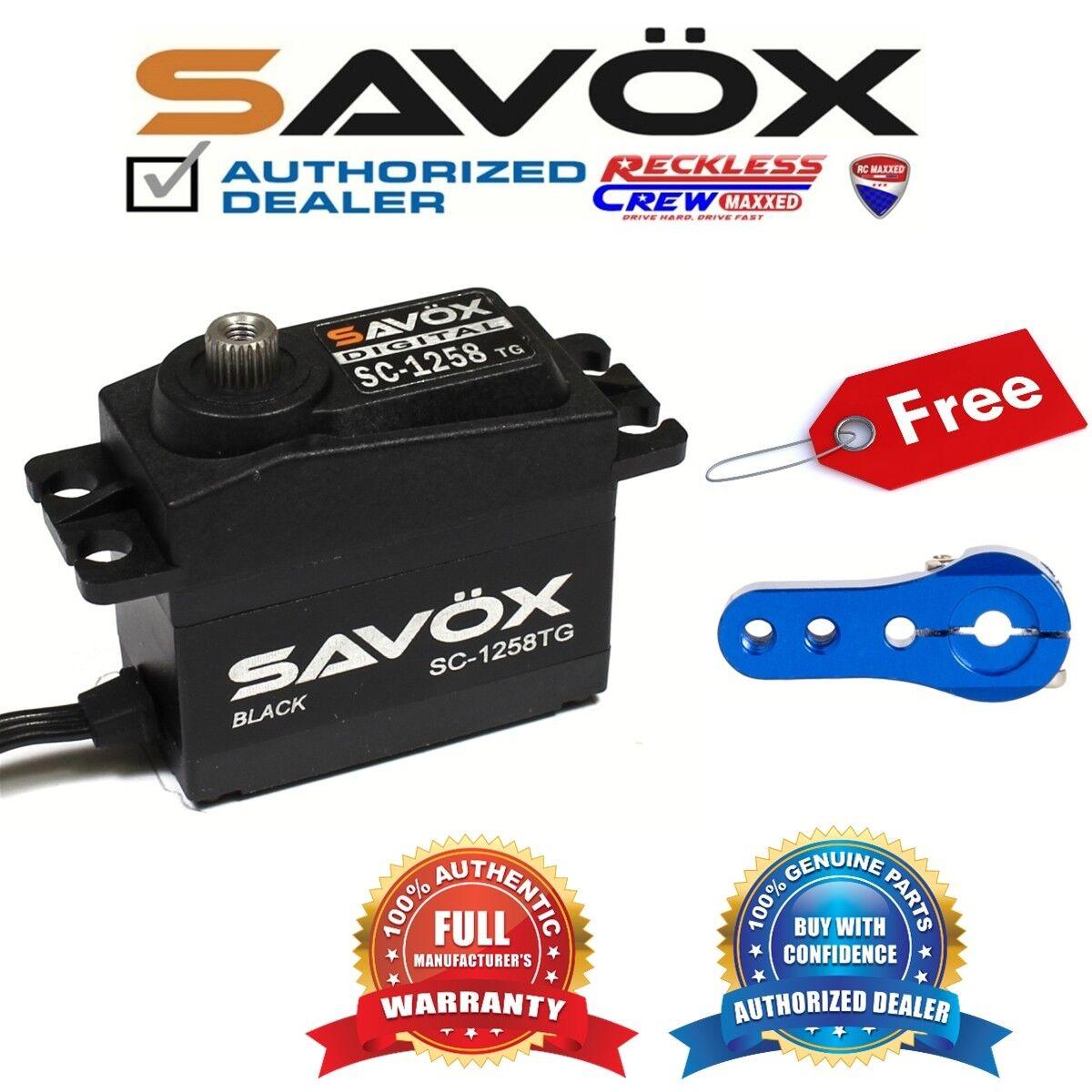 Savox SC-1258TG-BE Digital Servo Coreless Negro + Gratis Aluminio Servo Horn Azul
