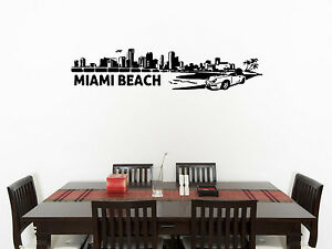 Details About Miami Beach Skyline Living Room Dining Bedroom Decal Wall Art Sticker Picture 1