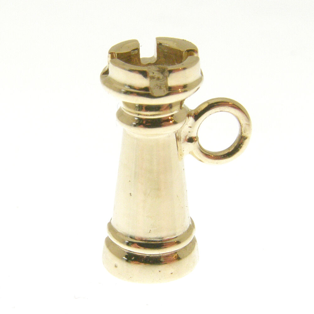 gold CHESS PIECE PENDANT.  HALLMARKED 9 CARAT gold CHESS ROOK or CASTLE PENDANT