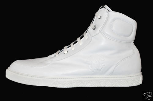 NEW FUR ROBERTO CAVALLI BIANCA LEATHER FUR NEW LINED SHEARLING HIGH TOP SNEAKERS 41.5-8.5 4d441b