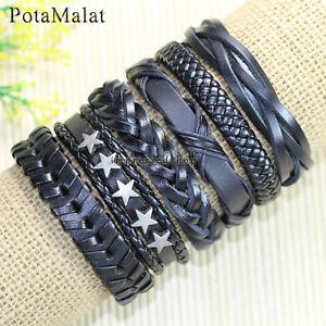 PotaMalat-6pcs-Wrap-Men-039-s-Star-Alloy-Leather-Bracelet-Braided-Rope-Bangle-D1