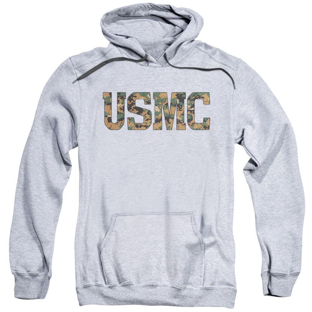 US Marine Corps USMC Camo Logo Heather Adult Hoodie Hoody
