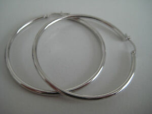 Details About Large Gold Hoop Earrings 9ct White 40mm Diameter