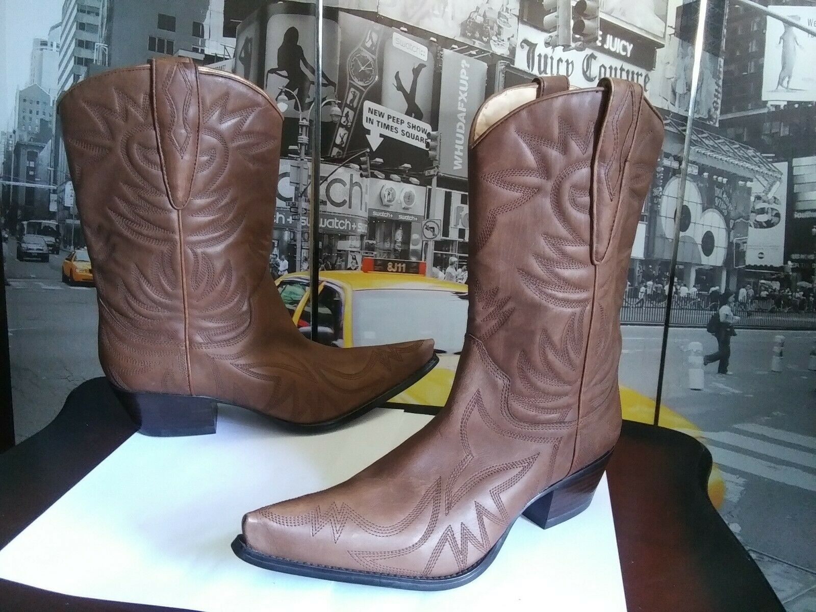 Guess Punk Women's Brown Leather Snip Toe Short Cowboy Western Boots 10 M new