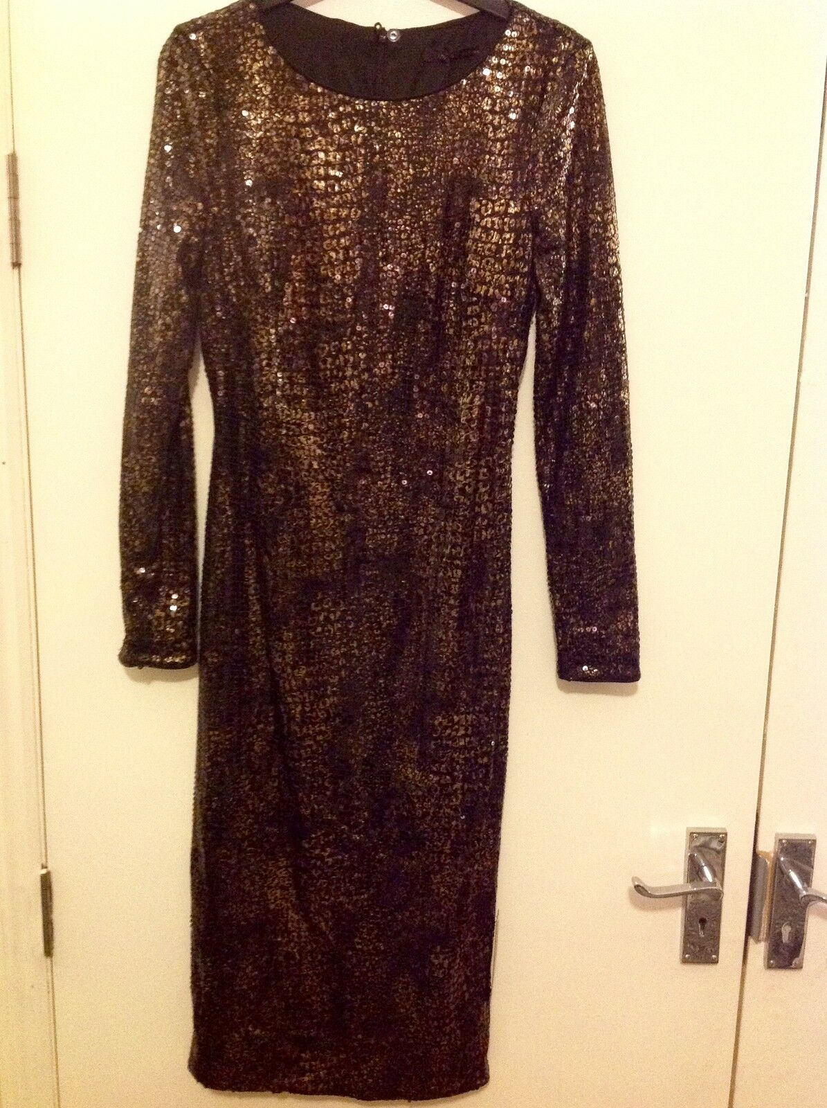 M&S COLLECTION New Long Sleeve Sequin Effected Shift Dress Size 8 Regular