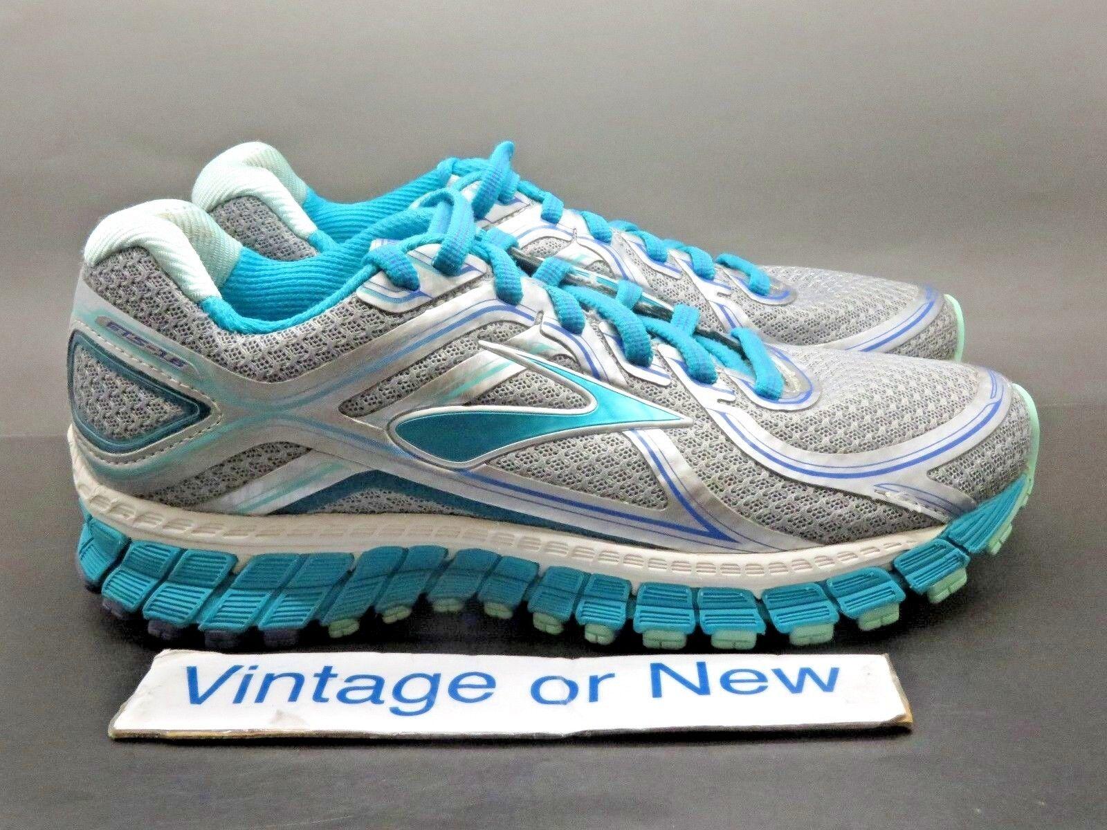 Women's Brooks Adrenaline GTS 16 Silver Silver Silver blueebird Tint Running shoes sz 6.5 2A 51563f