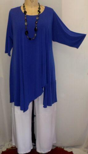 "Coco /& Juan Lagenlook Plus Size Top Sapphire Traveler Knit Asymmetric 14,16 B46/"""