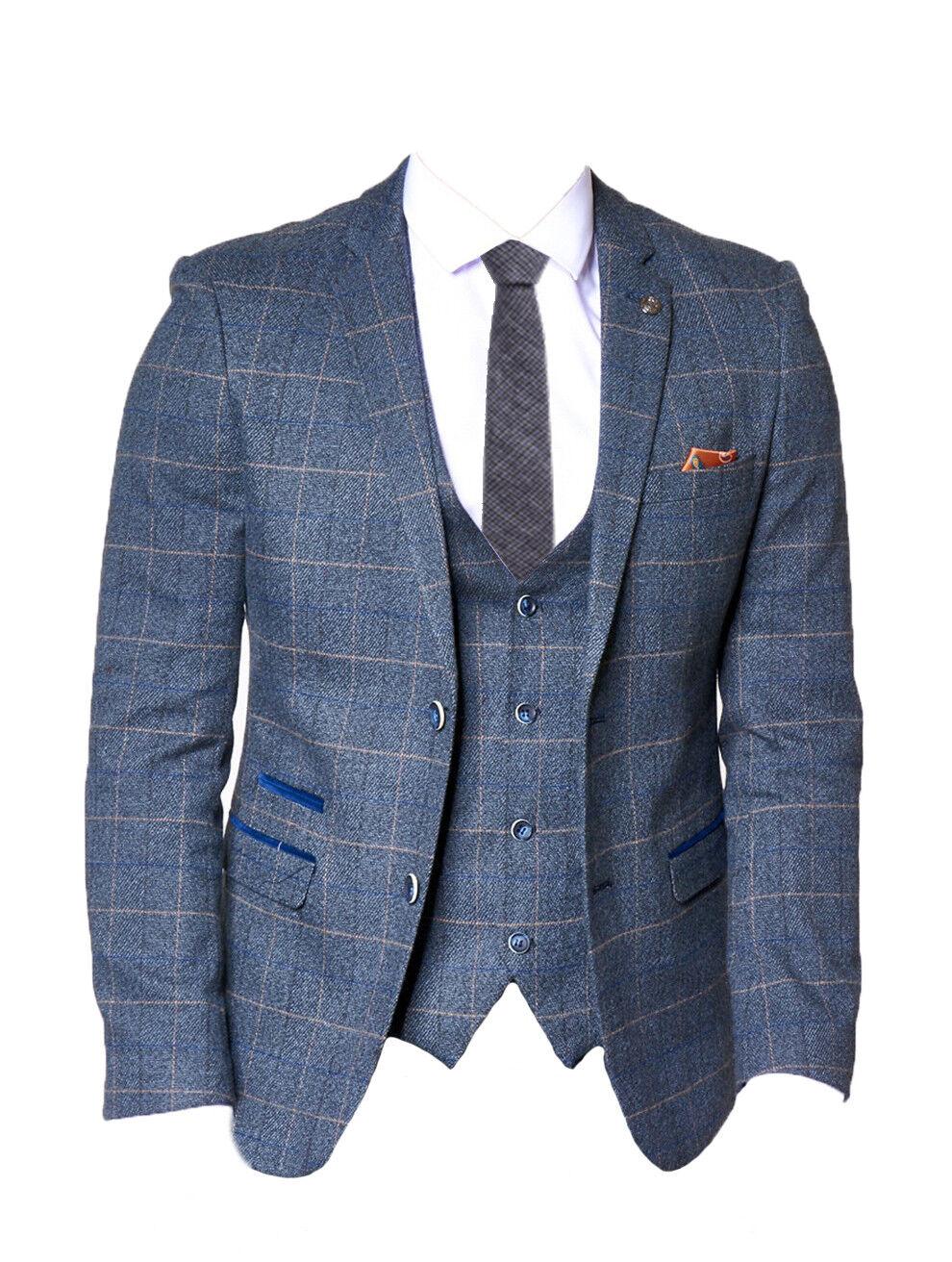 Herren Marc Darcy 2-tlg Tweed kariert Blazer & Weste - Scott Blau