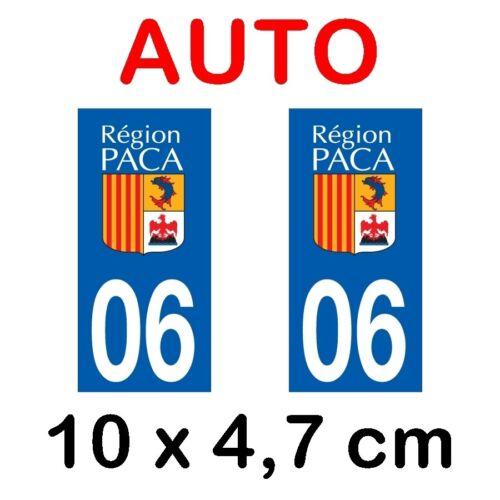 Autocollant plaque immatriculation voiture dpt 06 Alpes Maritimes
