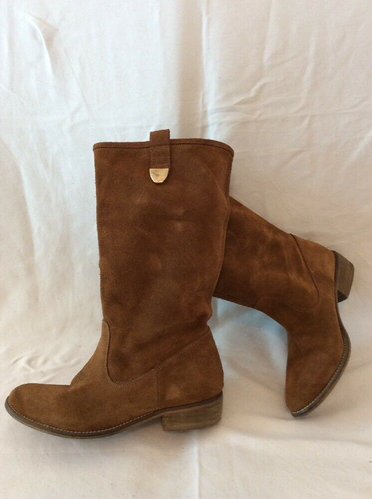 Stradivarius Brown Mid Calf Suede Boots Size 38