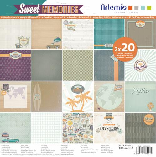 Papier Scrapbooking Artemio SWEET MEMORIES VOYAGE PALMIER VINTAGE RETRO 30,5 cm