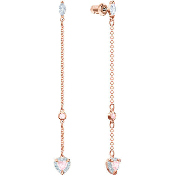 ONE HEART DANGLE PIERCED EARRINGS,PINK pink gold 2019 SWAROVSKI JEWELRY 5439316