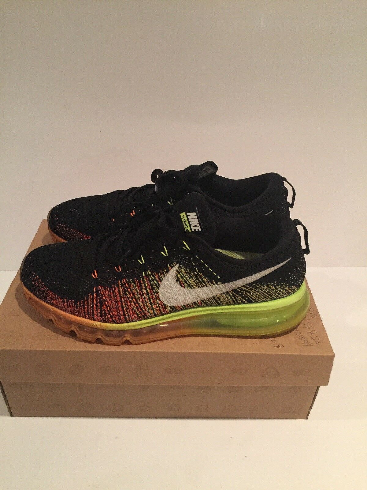 Nike Air Max Flyknit Black Orange Yellow Men's Size 10 Pre Owned