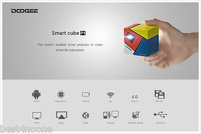 DOOGEE Cube P1 DLP Projector Android 4.4 2.4G WiFi Airplay HD Media Player EU