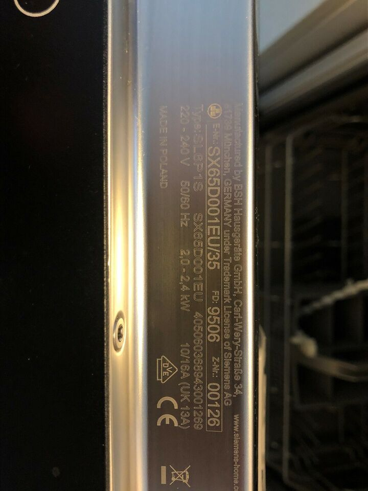 Siemens SX65D001EU/35, indbygning, energiklasse A+