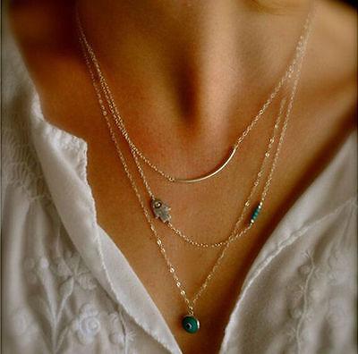 Fashion Jewelry Women Pendant Chain Choker Chunky Bib Statement Necklace XL0100