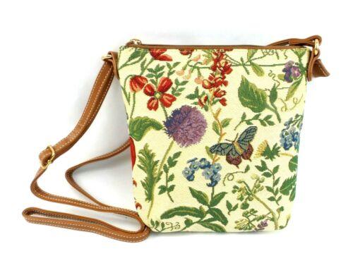 Morning Garden Crossbody Purse Floral Tapestry Print Hipster Shoulder Handbag
