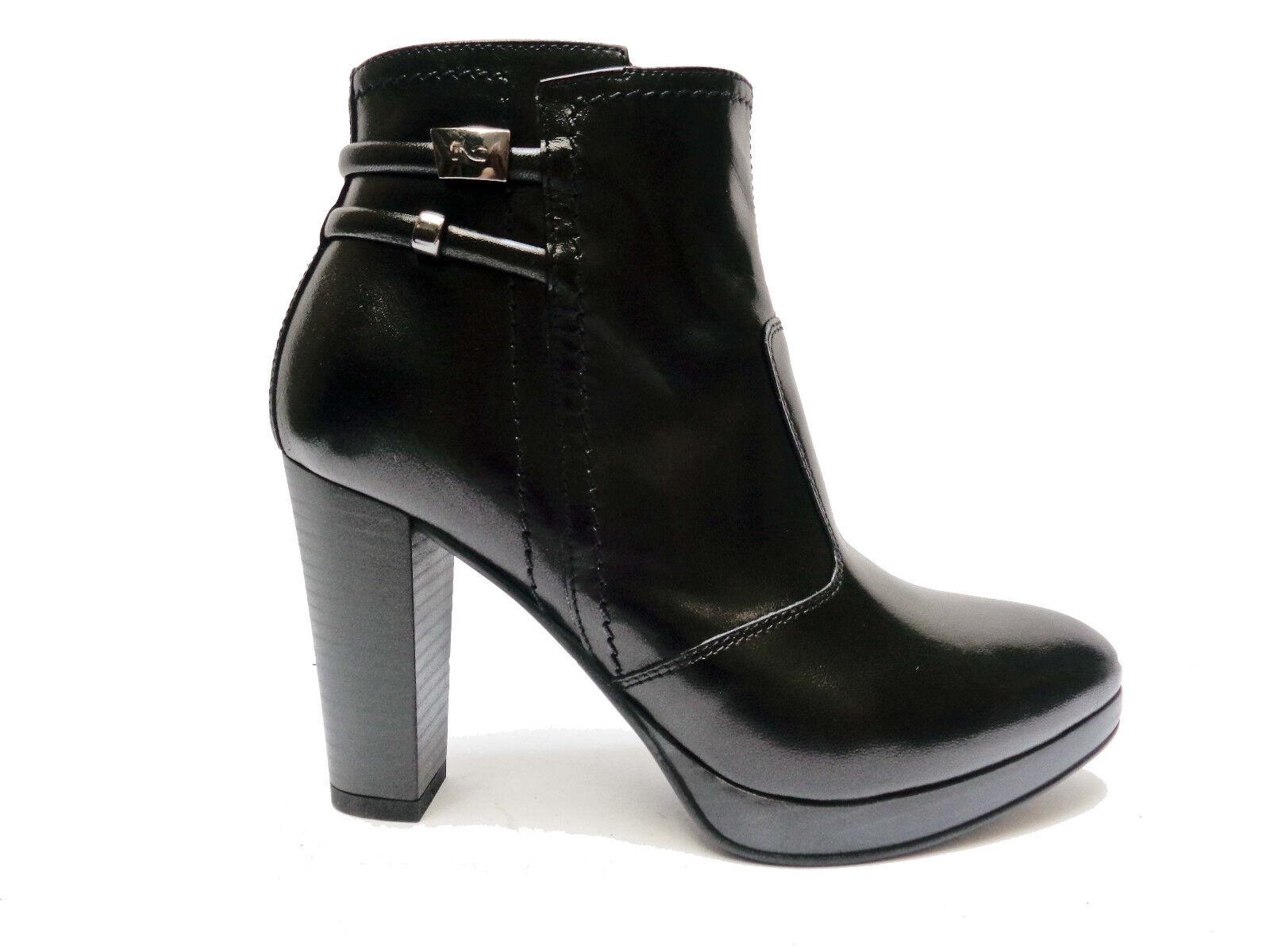 shoes women black GIARDINI 6313 STIVALETTI IN PELLE black TACCO CM. 9