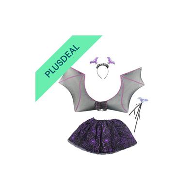 Fledermaus Set für Kinder Halloween Horror Karneval Party lila schwarz Tier