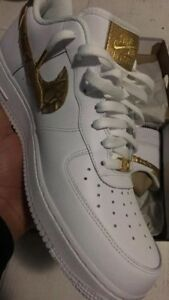 66b09908b8ce2f Image is loading nike-air-force-1-cr7-golden-patchwork-US11-