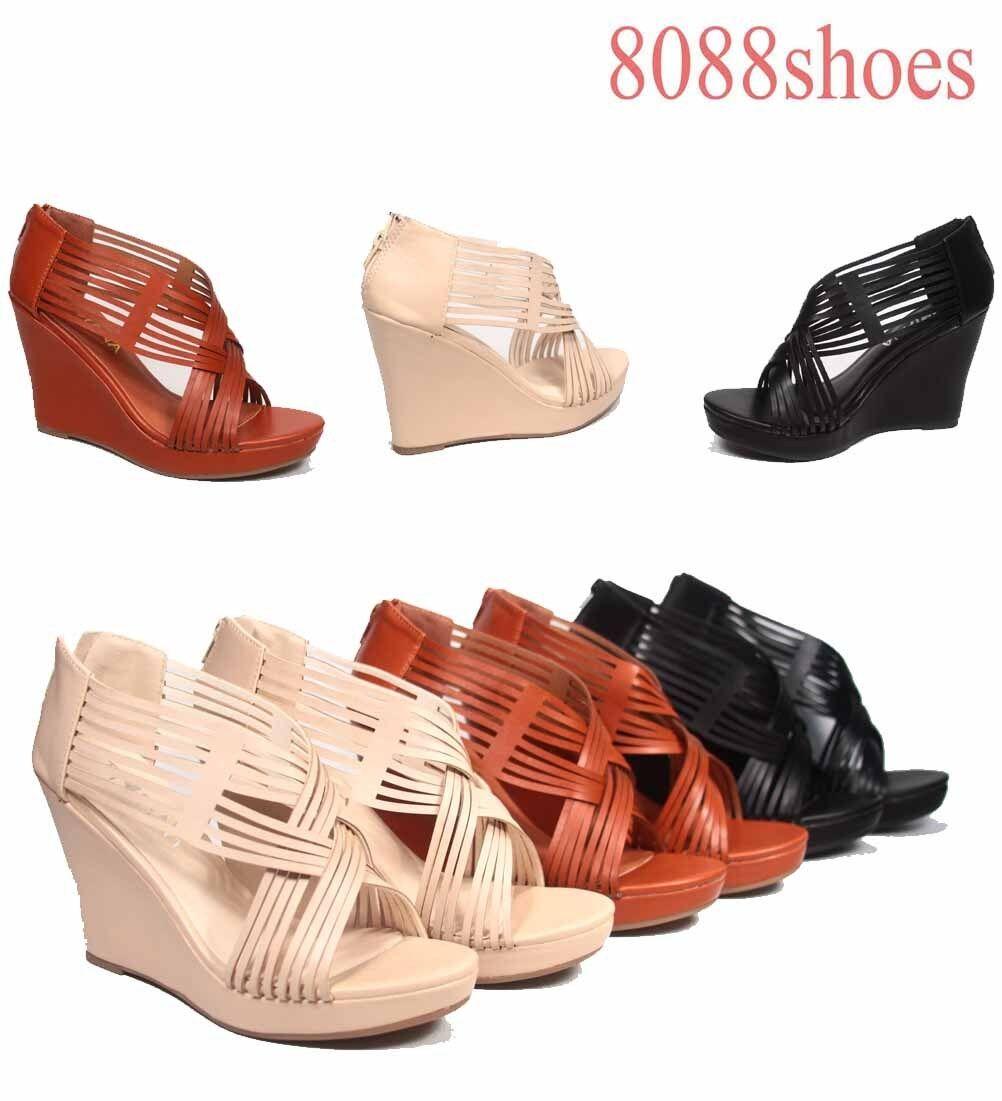 Women's Fashion Size Corss Strappy Zipper Wedge Platform Sandal Shoes Size Fashion 5.5 - 10 28a401