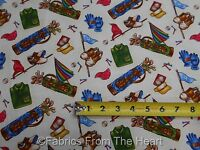Golf Tee Time Bags Balls Flags Shoes On Cream By Yards Fabri-quilt Cotton Fabric